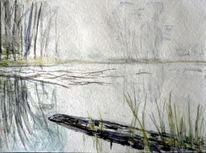 Nebelig, Baum, Gras, Wasser