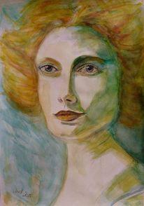 Zart, Frau, Portrait, Weiß