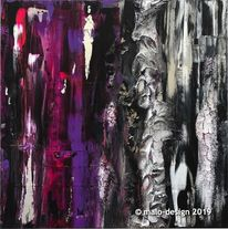 Malerei, Silber, Lavendel, Schwarz
