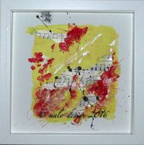 Abstrakt, Musik, Rot, Gelb