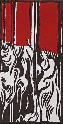 Abstrakt, Rot, Linoldruck, Hochdruck