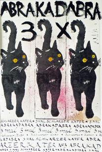 Magie, Linol, Katze, Kalligrafie
