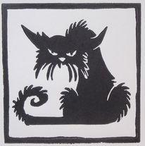 Linoldruck, Hochdruck, Katze, Druckgrafik