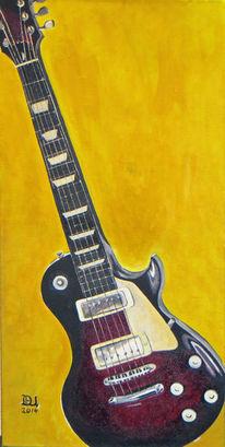 Musik, Acrylmalerei, Elektrogitarre, Instrument