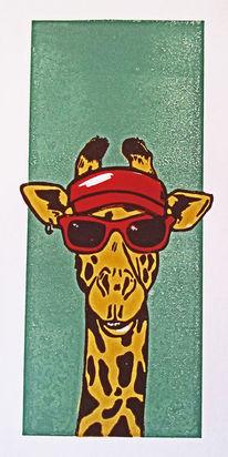 Giraffe, Linolschnitt, Blockprint, Hochdruck