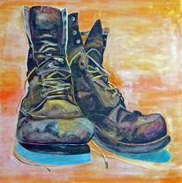 Acrylmalerei, Stillleben, Schuhe, Malerei