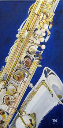 Saxofon, Acrylmalerei, Musik, Instrument