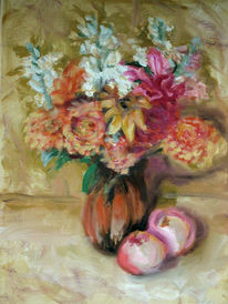 Vase, Obst, Apfel, Blumen