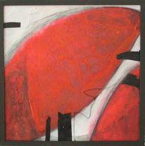 Malerei, Rot schwarz, Organisch, Abstrakt