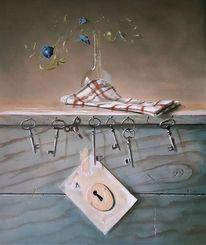 Handtuch, Vase, Holz, Vergänglichkeit