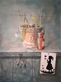 Butterblume, Schlüssel, Scherenschnitt, Blumentopf