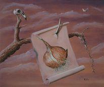 Vogelschädel, Verfall, Äste, Stille