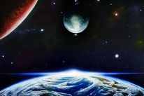 Spaceart, Universum, Planet, Mond