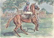 Pferderennen, Aquarellmalerei, Tusche, Pferde