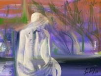 Frau, Schilfrand, Malerei