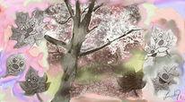 Lachen, Herbstblätter, Malerei, Digitale malerei