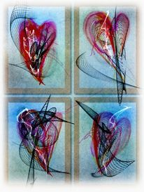 Gefühl, Serie, Herz, Malerei