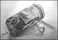 Büchse, Trocknen, Sepia, Bleistiftzeichnung