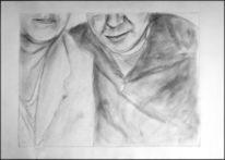 Halle, Selfi, Skizze, Bleistiftzeichnung