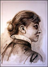 Sepia, Portrait, Frauenportrait, Ölmalerei