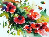 Aquarell, Pflanzen, Blumen