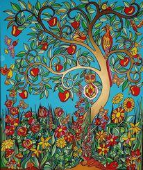 Garten, Baum, Blumen, Malerei