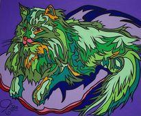 Grün, Sofa, Katze, Malerei