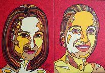 Turnen, Zwillinge, Schwestern, Malerei