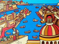Hafen, Boot, Malta, Malerei