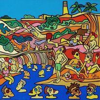 Becken, Schwimmen, Malta, Malerei