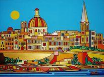 Malta, Hafen, Valletta, Malerei