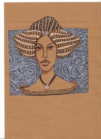 Frau, Muster, Braunes papier, Mischtechnik