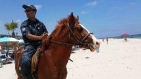 Polizei, Pferde, Strand, Fotografie