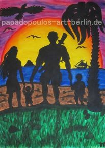 Natur, Familie, Kinder, Rot
