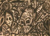 Tod, Krieg, Seele, Kohlezeichnung