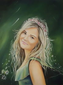 Frauenportrait, Haare, Blüte, Blumen