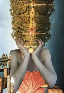 Segelboot, Ufer, Collage, Wasser