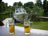 Bier, Bootssteg, Boot, Sommer