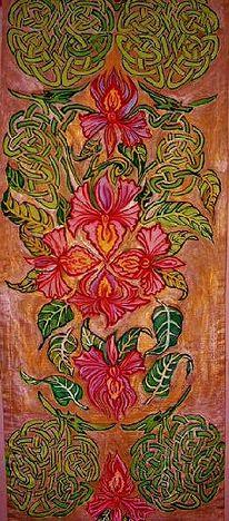 Fantasie blühten blätter, Ornamente, Kunsthandwerk, Holz u