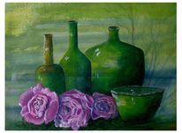 Glas, Acrylmalerei, Grün, Blüte