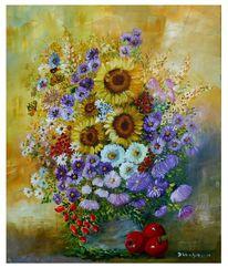 Sonnenblumen, Blüte, Vogelbeeren, Apfel