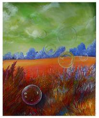 Seifenblasen, Rot, Leuchten, Malerei