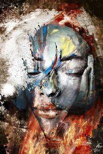 Yoga, Malerei, Menschen, Feuer