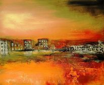 Sonnenuntergang, Häuser, Horizont, Rot schwarz
