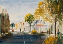 Straße, Schatten, Menschen, Baum