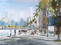 Menschen, Stadt, Promenade, Skyline