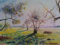 Weite, Apfelbäume, Landschaft, Obstwiese
