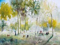 Park, Bank, Wald, Menschen