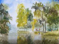 Landschaft, Spaziergänger, Park, Baum
