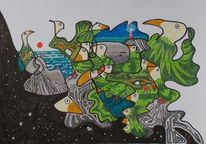 Vogel, Sternenhimmel, Leuchtturm, Meer